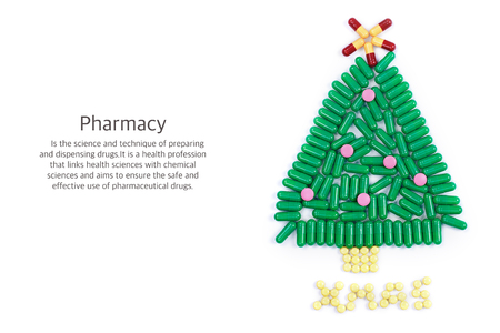 Tablets in form of Christmas tree and words under it