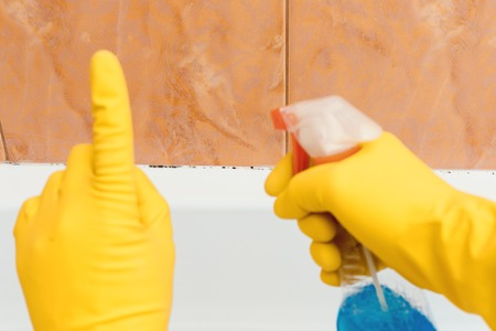 Hand in rubber gloves indicates mold in the bathroom