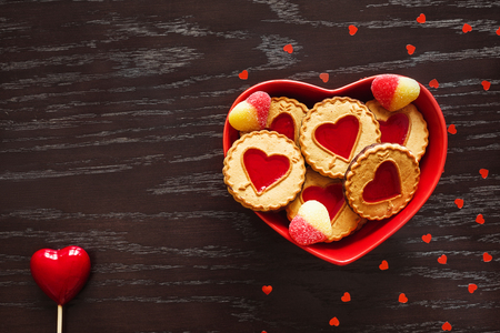 plate of heart shaped cookies for Valentines day Stock Photo