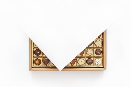 Expensive chocolates in an open box Stock Photo