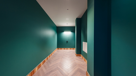 Dressing room, in an expensive house, in emerald green Stock Photo
