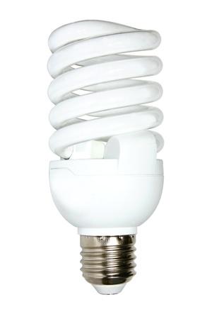 Oszczędności energii światła samodzielnie na białym tle