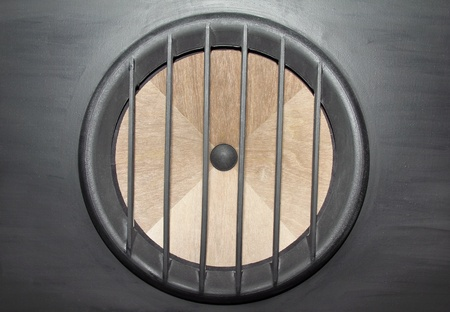 Professional wooden big loudspeaker in huge floor speaker photo
