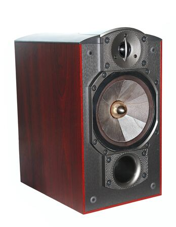 Closeup expensive hi-fi wooden speaker isolated on white background photo