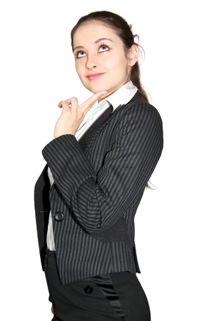 Beautiful young business woman thinking and looking up with smile isolated on white background
