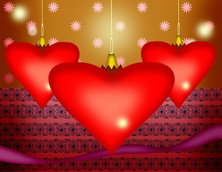 Illustration of tree bright red hearts among the stars and patterns background Vector