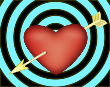 love target: Big red heart with yellow arrow on spiral blue black background