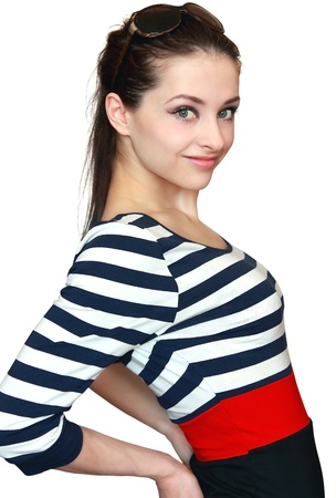 Happy smiling girl posing in bright colorful dress and looking isolated on white background Stock Photo - 12920206