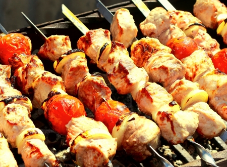 shish: BBq grill pork meal outdoor with vegetables  Tasty hot picnic