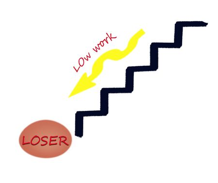 downwards: Loser business concept illustration  Down to ladder  Low work Stock Photo