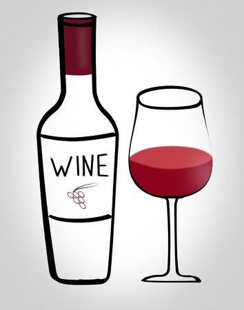 red wine pouring: Illustration of bottle and glass of wine  Party time