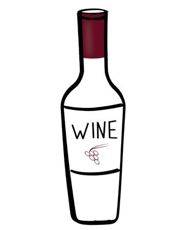 Illustration of bottle of red wine on white background