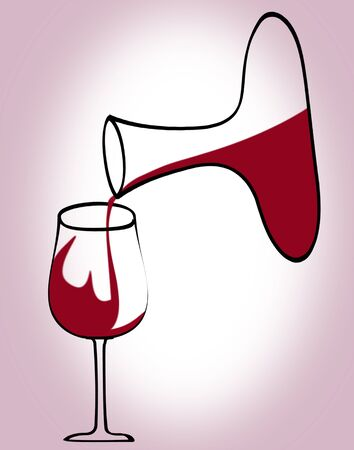 decanter: Illustration of decanter pouring red wine in glass