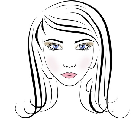 portrait of beautiful face young long hair girl isolated illustration