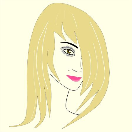 Illustration portrait of beautiful blond woman on white  Closeup  Vector