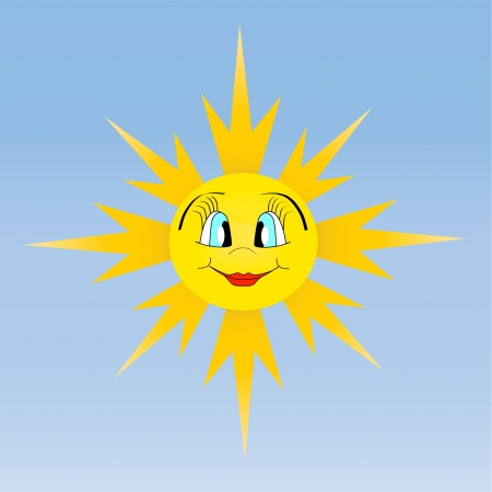 Beautiful smiling sun vector illustration on blue sky background Vector