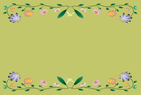 Beautiful colorful border illustration on season green background Vector