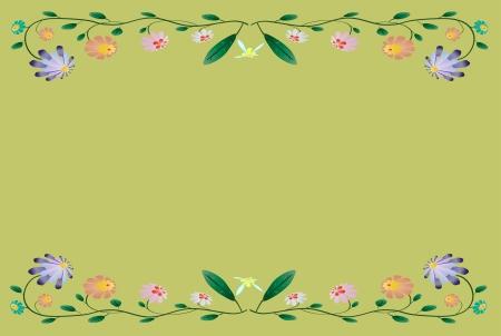 Beautiful colorful border illustration on season green background Stock Vector - 14332209