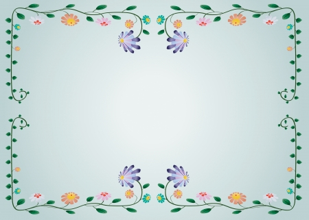 illustration of colorful flower border on blue background Vector