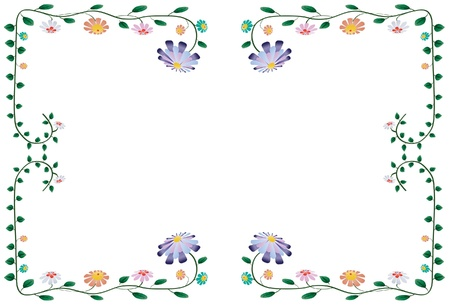 illustration of colorful flower border isolated on white background Vector