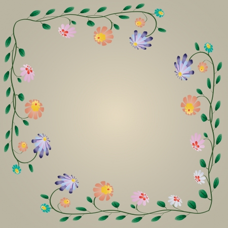 Beautiful colorful bright flowers border illustration Vector