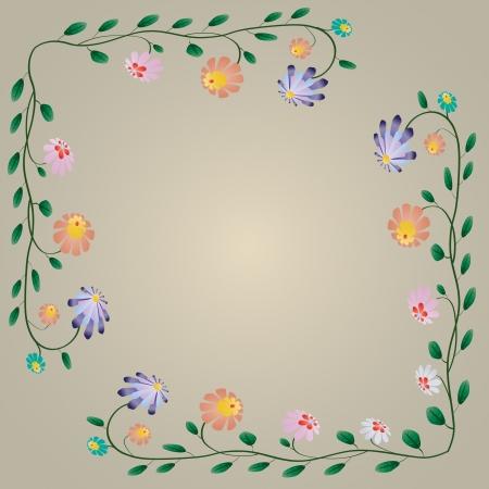 Beautiful colorful bright flowers border illustration Vettoriali