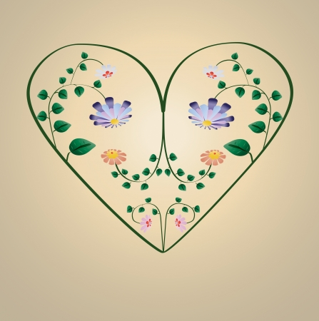 Greeting card with colorful flowers in heart shape illustration