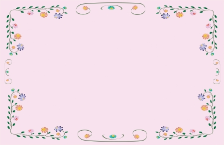 Vector flower classic colorful foliage frame on pink background Vettoriali