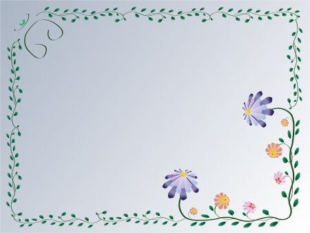 Vector flower classic colorful foliage frame on blue background