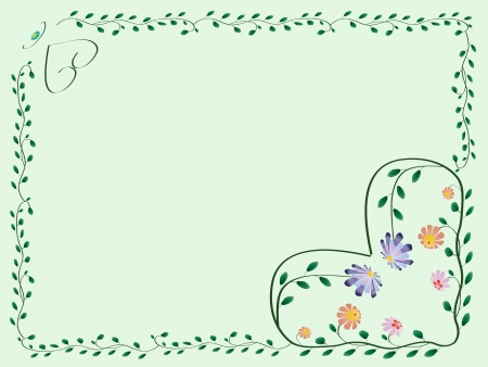 Frame with hearts and color flowers with leaves green illustration