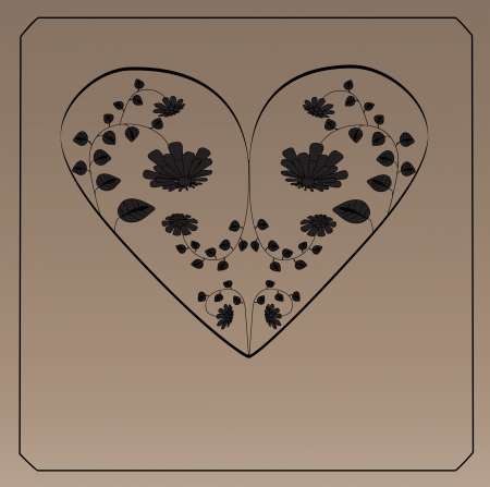 Decorative love heart with flowers inside  vector Illustration