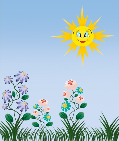 Beautiful nature illustration Yellow happy sun green grass and flowers Vector