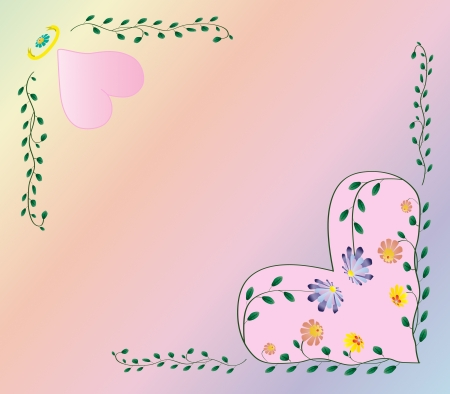 Wedding frame with pink hearts and flowers inside on color background Vector