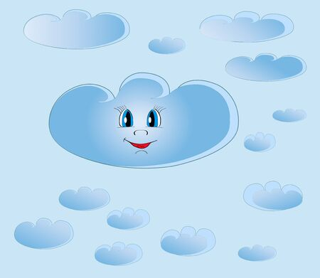 Smiling cloud among small clouds on blue background  Illustration vector