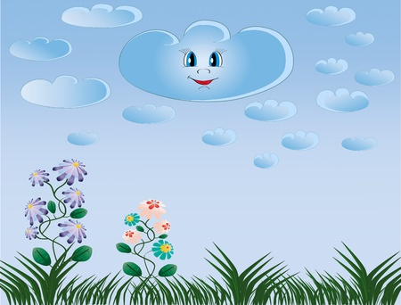 Beautiful green grass, flowers and smiling cloud background  Illustration Vettoriali