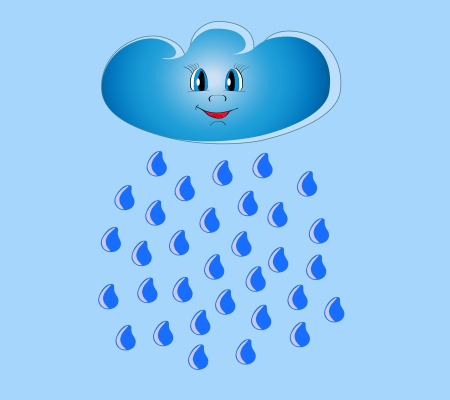 Beautiful fun cloud and summer rain vector illustration