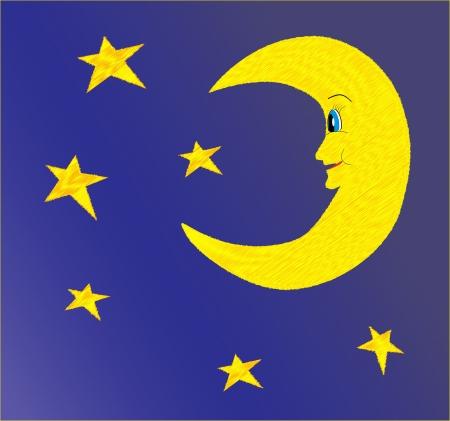 star and crescent: Half moon and stars on dark bright night sky  Illustration Illustration