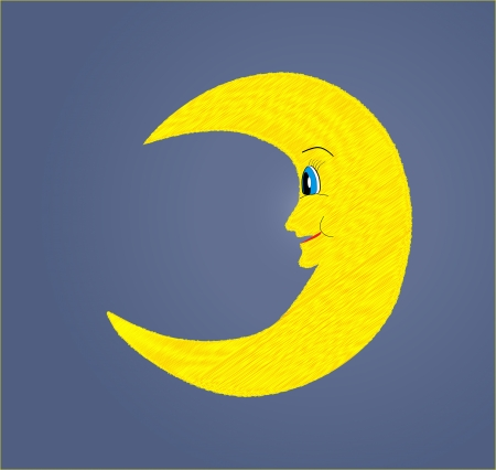 Fun smiling half yellow moon looking vector illustration Vector