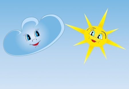 Happy sun and cloud looking, smiling each other  Friends  Illustration