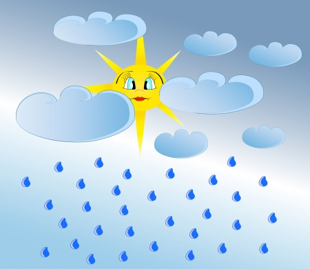 Bright sun was hidden by clouds  Rainy day vector illustration Vettoriali