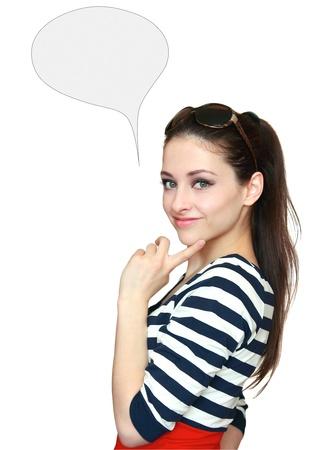 chica pensando: Hermoso pensamiento adolescente con burbujas en blanco pensamiento aislado dedo sosteniendo en la cara Foto de archivo