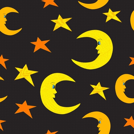 Smiling half moon and stars seamless pattern illustration on black Vector