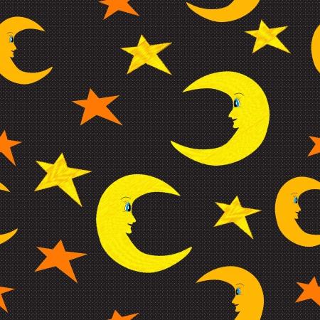 Smiling half moon and stars seamless pattern illustration on black