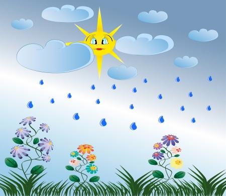 Summer rain, yellow sun, green flowers and grass nature illustration Vettoriali