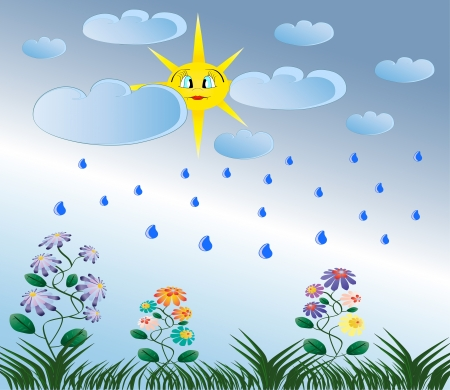 rainy season: Summer rain, yellow sun, green flowers and grass nature illustration Illustration
