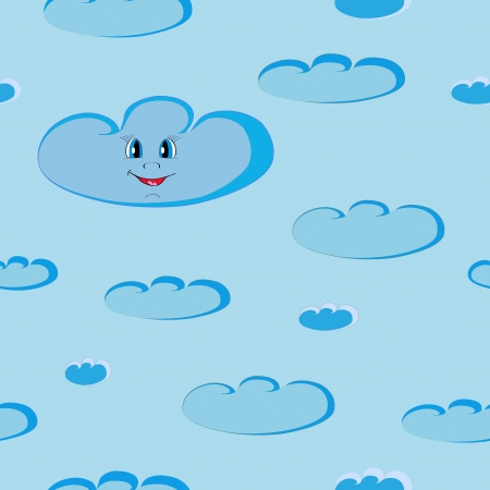 Happy smiling blue clouds seamless on day light sky  Illustration Vector