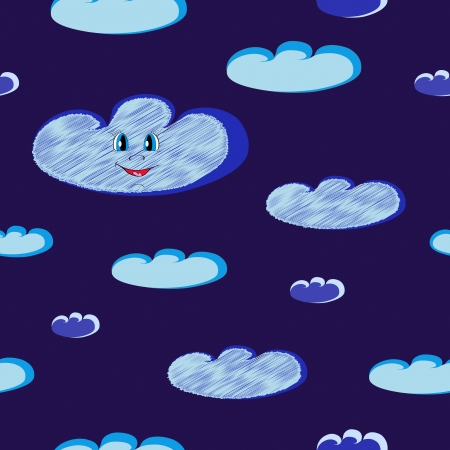 Happy smiling blue clouds seamless on dark night sky  Illustration Vector