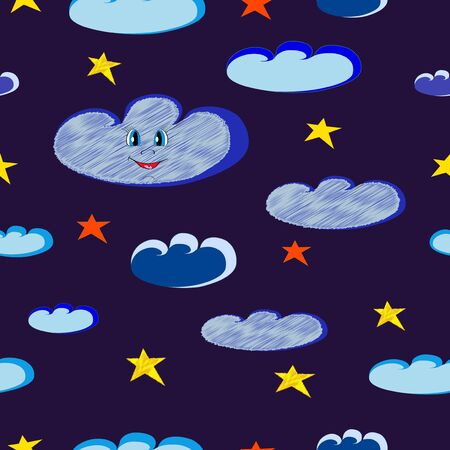 Smiling blue clouds and bright stars seamless on dark night sky  Illustration Vector