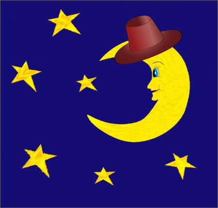 Funny half moon in hat with bright stars on night blue sky vector illustration