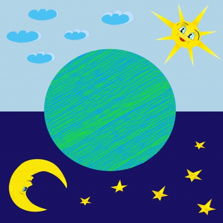 Fun illustration of happy sun, moon, earth, stars, day and night sky